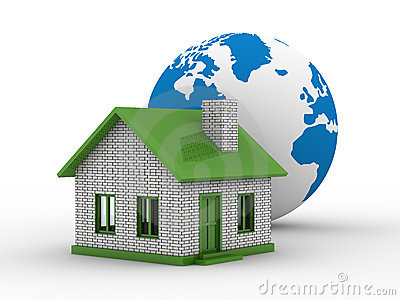 Small house and globe on  white background