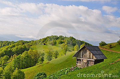 Small house on a hillside