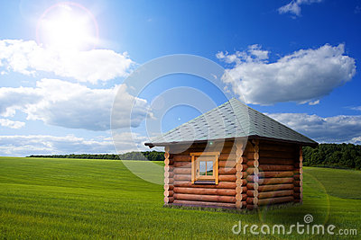 Small house on meadow