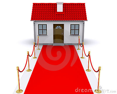 Small house with red carpet