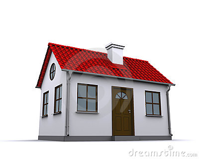 A small house with red roof
