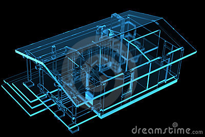 Small House, Sauna (3D xray blue)