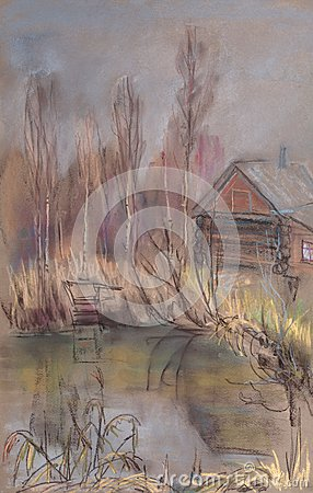 Small house on the shore of pond in forest