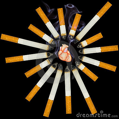 Small human heart suffocate from smoke