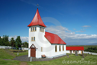 Small Icelandic church with cemetery