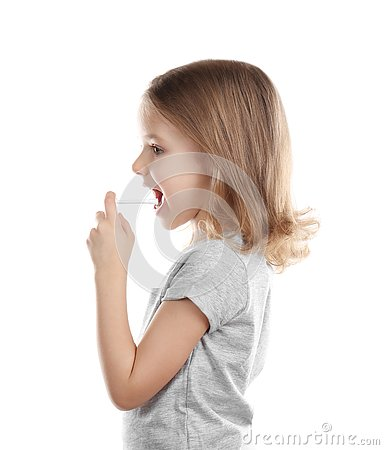 Free Small Ill Girl With Spray, Isolated Stock Photo - 105428760