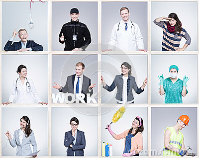 Small images of young man and woman in different occupation. Wearing specific work uniforms Stock Photo