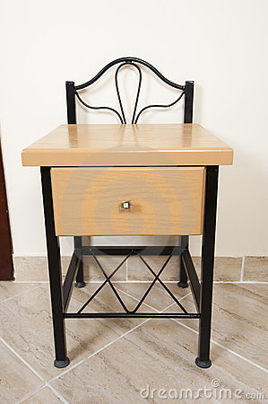 Small interior table with drawer and shelf