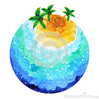 Free Small Island Big Ocean World Earth Watercolor Painting Design Stock Photo - 90084340