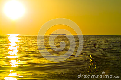 Small island at  stunning sunset
