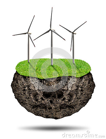 Small island with wind turbines