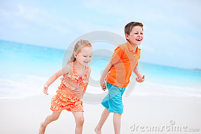 Small kids at beach