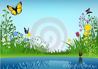 Small Lake and Butterflies