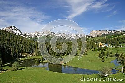 Small lake at the mountain