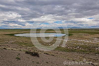 lake steppe mountains sky