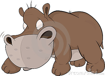 Small and malicious hippopotamus .Cartoon