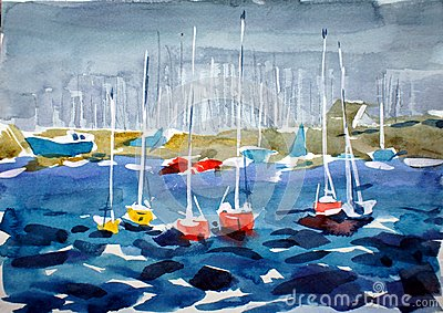Small marina with red yachts