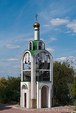 Small orthodox chapel on the island in Ukraine
