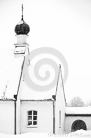 Small Otrhodox church in winter