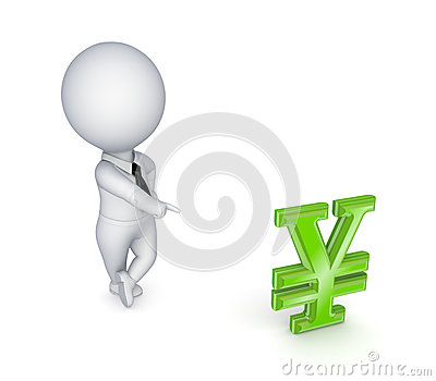 Small person and symbol of yen.