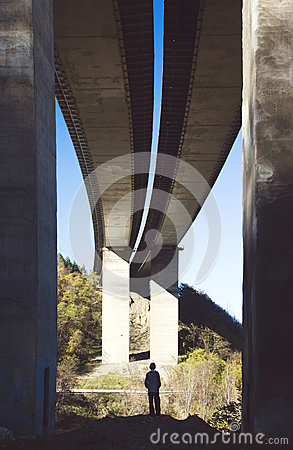 Free Small Person Under A Big Bridge Royalty Free Stock Photo - 55743055