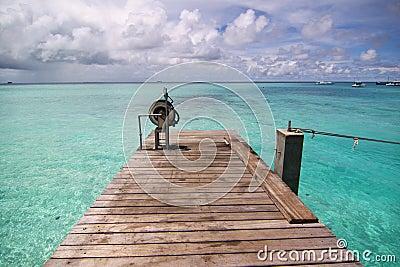 Small pier of tropical sea, Maldives