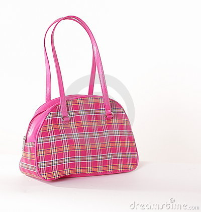 Small pink checkered purse