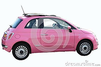 Small pink Italian car