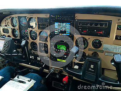Small plane cockpit packed with instruments Editorial Stock Photo