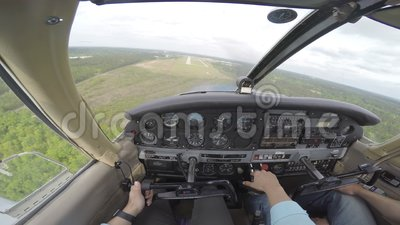 Small plane landing from cockpit stock footage