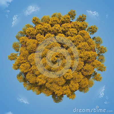 Small planet with a yellow autumn trees