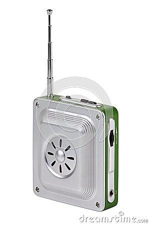 Small pocket radio with an antenna