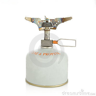 Small portable gas-stove burner isolated