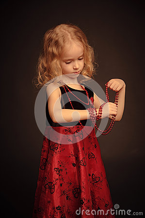 Free Small Pretty Girl With Beads Stock Images - 28267984