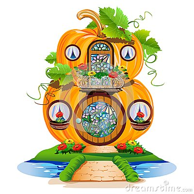 Free Small Pumpkin House With A Round Door And Stained Glass Windows Stock Image - 115391111
