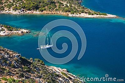 Small quiet bay on Poros island