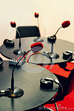 Small Radio Studio with Microphones