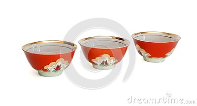 Small red bowls isolated