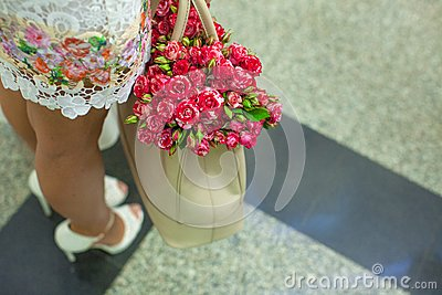 Small red charming roses in fashion women s bag