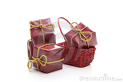Small red christmas present box