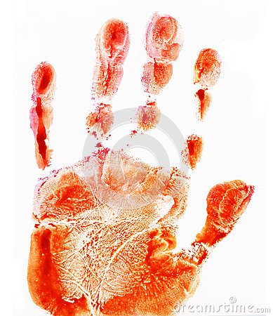 Small red hand print