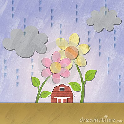 A small red house under flower on rainy day