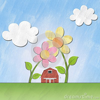 A small red house under flower on sunny day