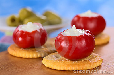 Small Red Pepper Filled with Sour Cream