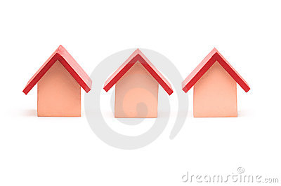 Small red roofed model house