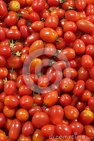 Small red tomatoes in stack