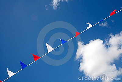 Small red white and blue flags