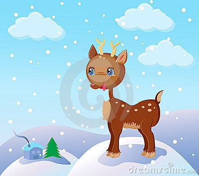 Small reindeer in the snow