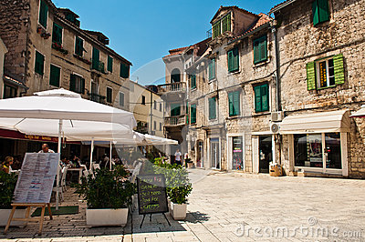 Small restaurant in Split,  Croatia Editorial Photo