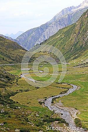 Small river in Alps.